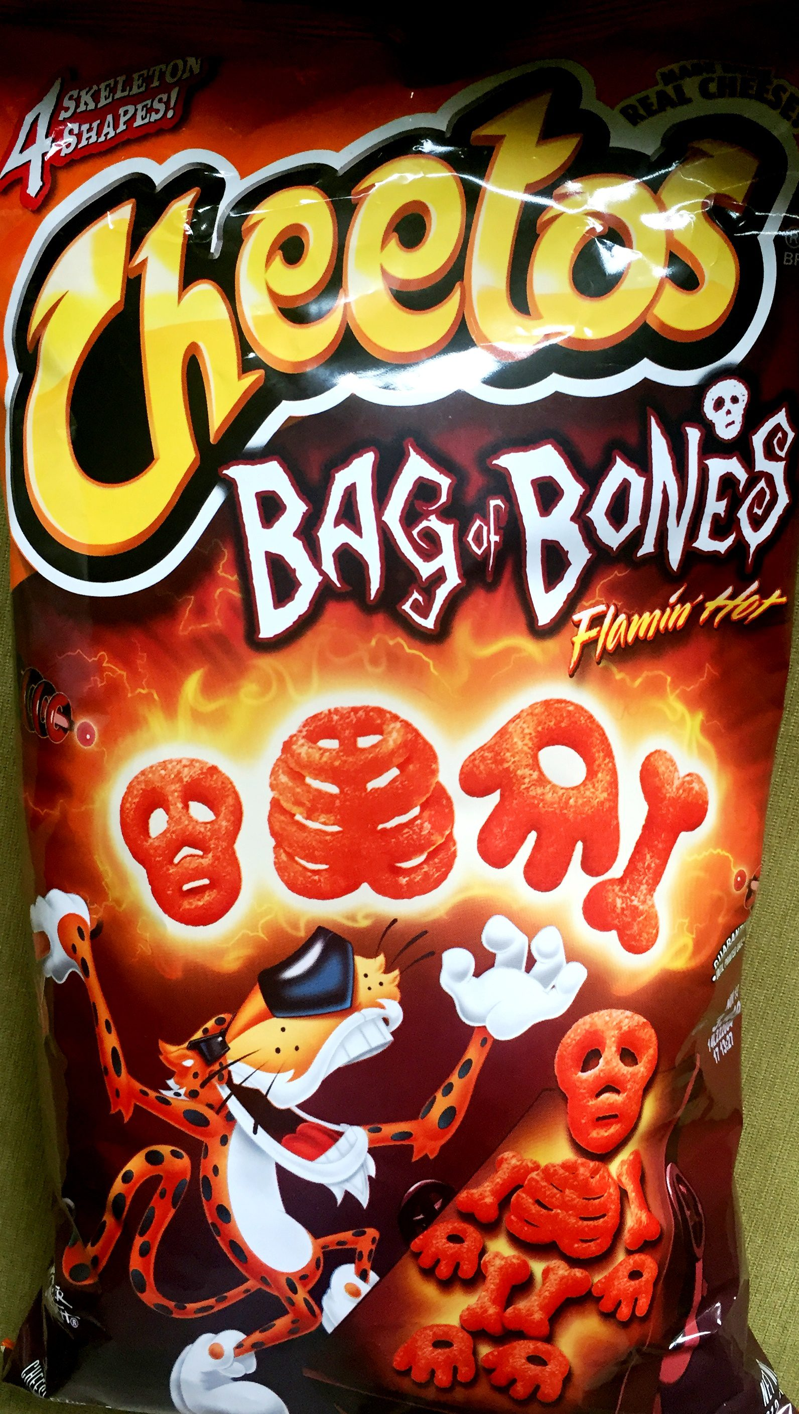 review cheetos bag of bones flamin chip review